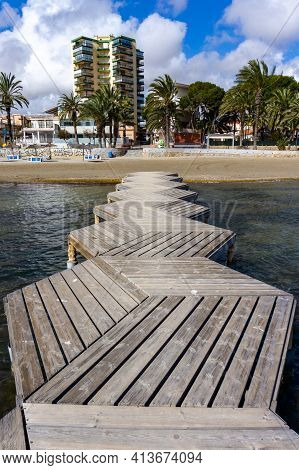 San Javier, Murcia - 23 February, 2021: Beach And Mediterranean Sea In The Town Of San Javier On The