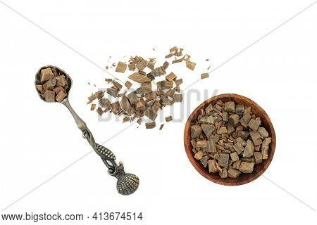 Guaiacum herb bark used in natural herbal medicine to heal rheumatism, arthritis, syphilis, breathing problems, skin disorders  is anti bacterial. Guaiacum officinale.