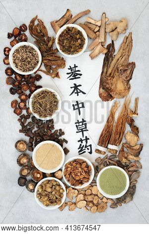 Chinese fundamental herbs most regularly used in herbal medicine with calligraphy script on rice paper on grunge background. Top view. Translation reads as chinese fundamental herbs.