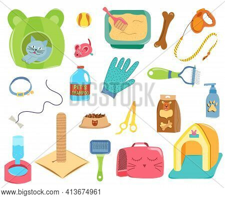 Set Of Pet Care Accessories. Collection Of Isolated Pets Elements On White Background. Various Pet S