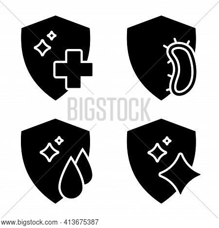 Immune System Concept. Disinfection, Protection Or Cleaning Symbol. Badges For Material With Antimic