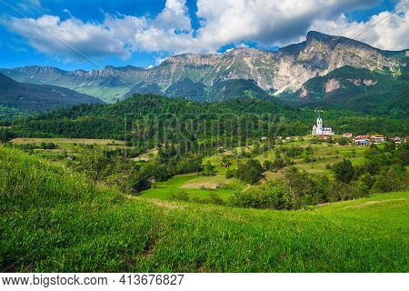Picturesque Travel And Hiking Destination With High Rocky Mountains And Summer Green Fields, Dreznic