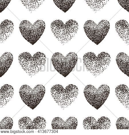 Heart Hand Draw Point-to-point Vector Seamless Pattern. Heart Pointillism Vector Seamless Background