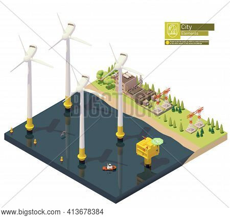 Vector Isometric Offshore Wind Farm And Power Plant