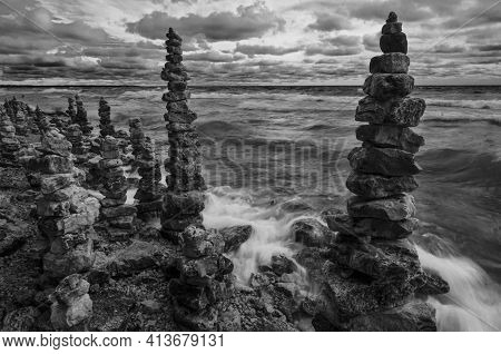 Rock Cairns Are Piled High And Thickly Along The Lake Michigan Shore, Whitefish Dunes State Park, Do
