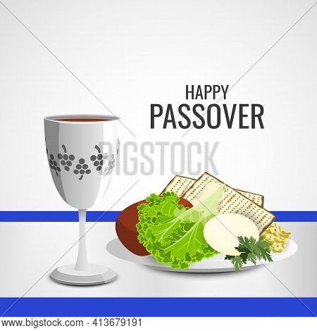 Vector Illustration Of Happy Passover. Traditional Jewish Holiday.