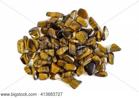 Natural Mineral Gem Stone Tiger's Eye Tigers Eye, Tiger Eye Gemstone Isolated On White Background Cl