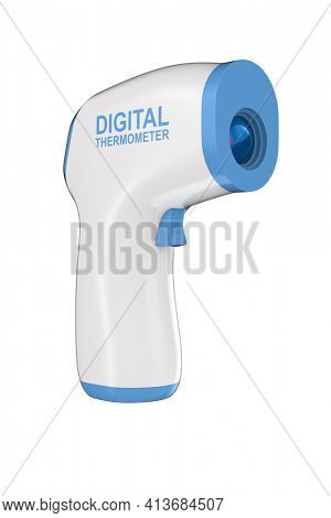 digital non-contact infrared thermometer on white background. Isolated 3D illustration