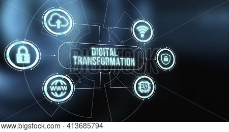 Internet, Business, Technology And Network Concept.concept Of Digitization Of Business Processes And
