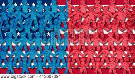 Blue And Red States Of America As American People Joining Together With Conservative Right Wing And