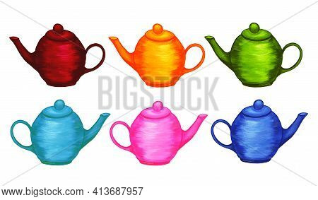 Kitchen Teapots Infuser Set. Bright Multi Colored Dishes. Watercolor Illustration. Tea Time. Breakfa