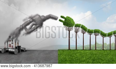 Gas Nozzle And Green Electric Car Idea Or Ev Or Renewable Vehicle Eco Energy To Save The Environment