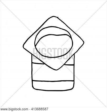 Yoghurt Or Yogourt Plastic Container And Spoon Sketch Drawing. Doodle Style Illustration. For Restau