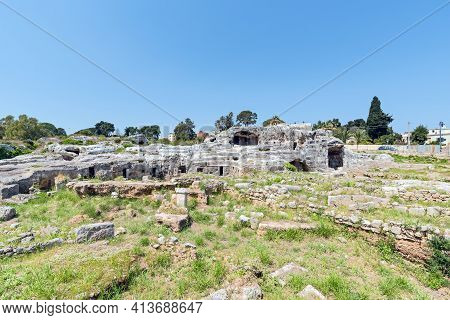 The Overgrown Grotticelli Necropolis (graveyard) Of The Ancient Greeks Of Syracuse, Sicily. The Ruin