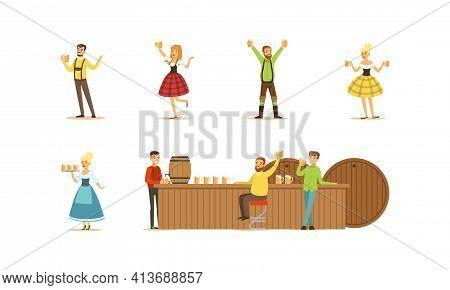 People Celebrating Oktoberfest Set, Men And Women Wearing Traditional Bavarian Clothes Serving Clien