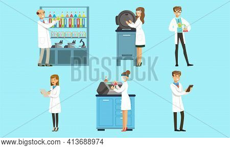 Scientists Wearing White Coats Doing Experiments In Science Laboratory Set, Men And Women Chemists R