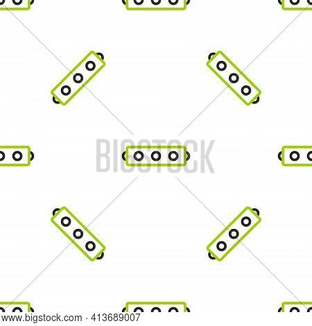 Line Silicone Ball Gag With A Leather Belt Icon Isolated Seamless Pattern On White Background. Fetis