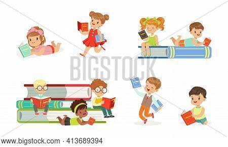 Kids Reading Books Set, Adorable Boys And Girls Sitting On Stack Of Books, Children Enjoying Of Read