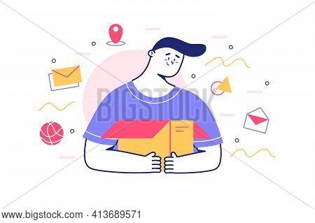 Unpacking Paper Box Vector Illustration. Man And