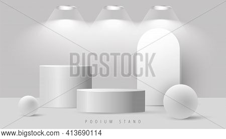 Minimal Abstract Mock Up Scene With Podium Or Platform, Geometric Bubble Shapes On Grey Background.
