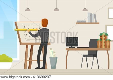 Man Architect Drawing Blueprint Or Draft Of Building Design On The Paper Vector Illustration