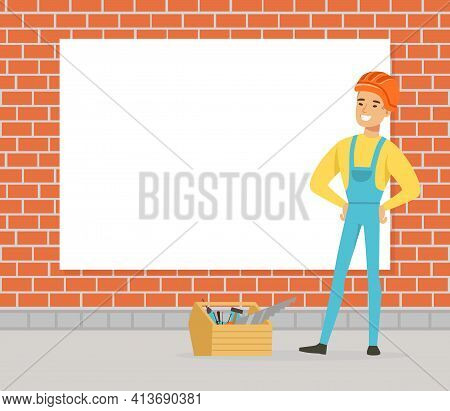 Man Constructor In Hard Hat Standing Near Brick Wall With Box Full Of Instruments Vector Illustratio
