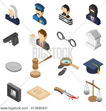 Heist Robbers And Police Court Lawyer And Justice 3d Isometric Color Icon Set Isolated Vector Illust
