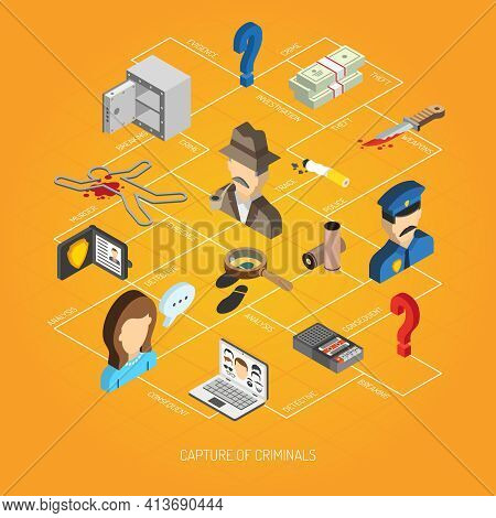 Law And Police Concept With Isometric Detective Policeman Evidence Icons Set Vector Illustration