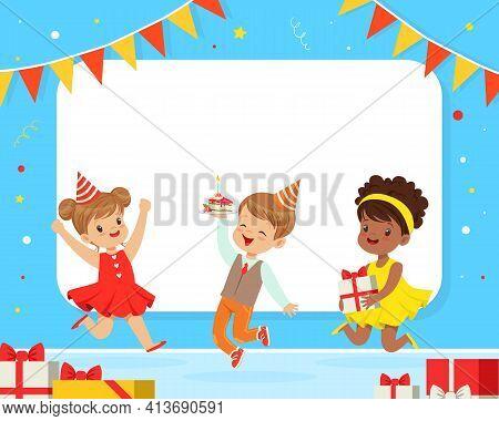 Happy Children In Birthday Hat Jumping With Joy Celebrating Festive Holiday Vector Illustration