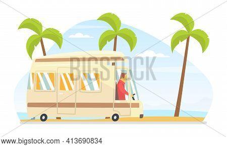 Man Driving Van Along The City Road Vector Illustration