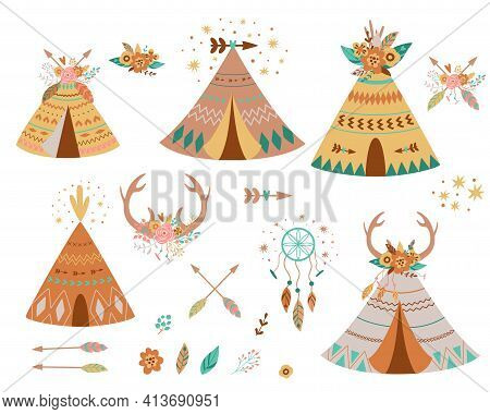 Teepee Tents And Arrows Collection. Native American Teepee Set, Flowers, Horns, Dreamcather Hipster.