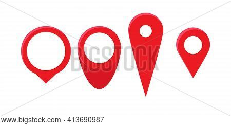 Red Pin Point Icons Set. Map Location Pointer Isolated On White Background. Vector Illustration