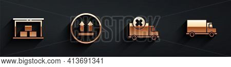 Set Warehouse, This Side Up, Delivery Cargo Truck Vehicle And Delivery Cargo Truck Vehicle Icon With