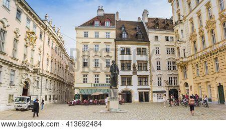Vienna, Austria - September 16, 2020: Panorama Of The Historic Judenplatz Square In Vienna, Austria