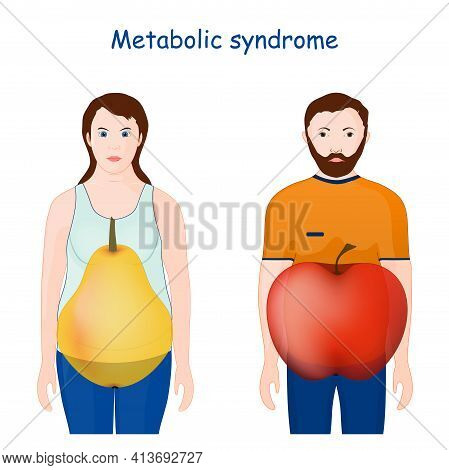 Metabolic Syndrome. Symptoms. Apple-shaped Adiposity For Male, And Pear Body Shapes For Female. Vect