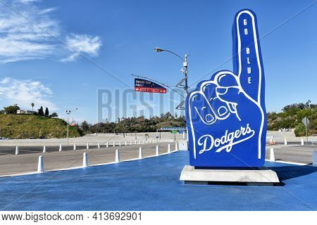 LOS ANGELES, CALIFORNIA - 11 FEB 2020: A Number 1 hand figure with Go Blue at Dodger Stadium.