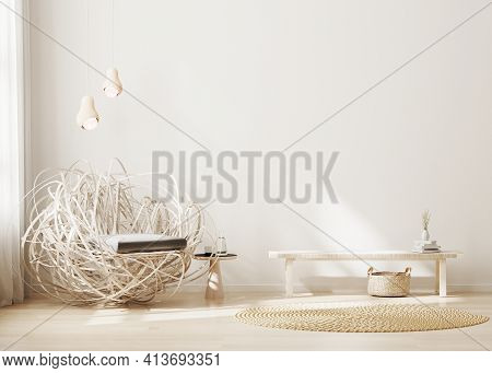 Modern Living Room Interior Mock Up With Light Wood Furniture, Minimalist Interior Background, Light