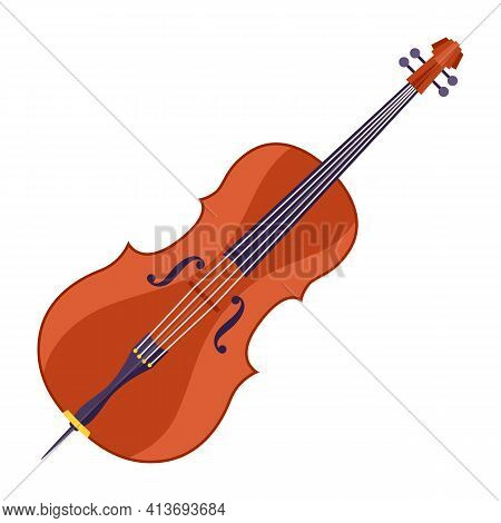 Illustration Of Double Bass. Musical Instrument For Concert Poster.