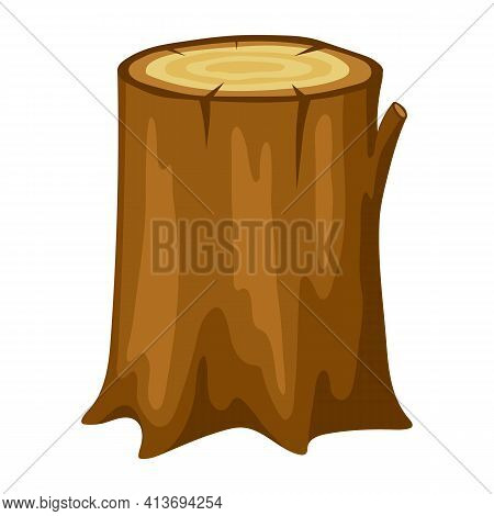 Illustration Of Tree Stump. Adversting Image For Forestry And Lumber Industry.