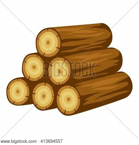 Illustration Of Tree Logs Stack. Adversting Image For Forestry And Lumber Industry.