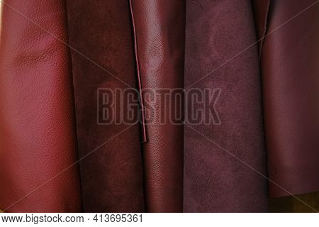 Genuine Leather Texture.red Burgundy Leather And Suede In Rolls Set.leatherworking. Genuine Leather