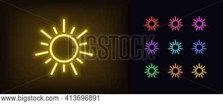 Neon Sun Icon. Glowing Neon Sun Sign, Outline Solar Energy Symbol In Vivid Colors. Vector Icon Set,