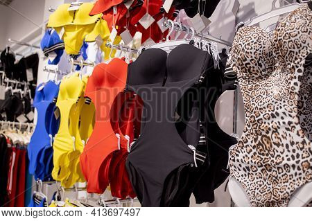 Women's Swimsuit In The Store. Fashionable Swimsuits Are Continuous
