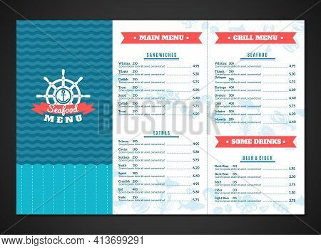 Seafood Restaurant Menu Template With Fish And Sea Animals Dishes Vector Illustration