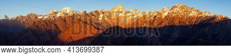 Himalaya, Evening Panoramic View Of Indian Himalayas From Joshimath Auli, Great Himalayan Range, Utt