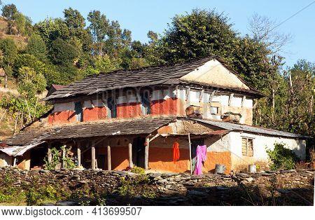 Beautiful House Home Building In Nepal, Annapurna Region, Nepal Himalaya Mountain
