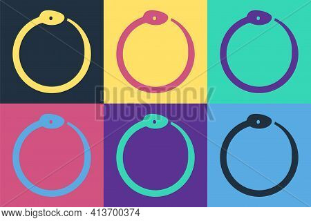 Pop Art Magic Symbol Of Ouroboros Icon Isolated On Color Background. Snake Biting Its Own Tail. Anim