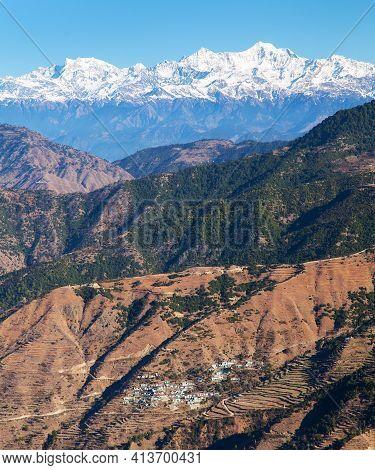 Mount Bandarpunch, Himalaya, Panoramic View Of Indian Himalayas, Great Himalayan Range, Uttarakhand