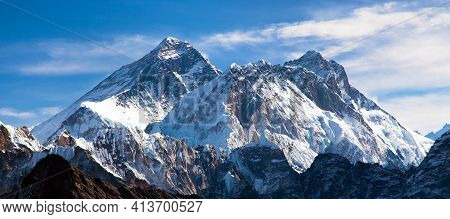 Panoramic View Of Everest, Lhotse And Nuptse From Renjo Pass, Way To Everest Base Camp And Three Pas