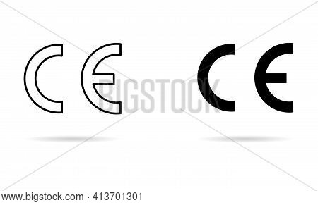 Ce Mark Symbol For Conformite Europeenne, Clean Label Product Shadow, Information Vector Illustratio